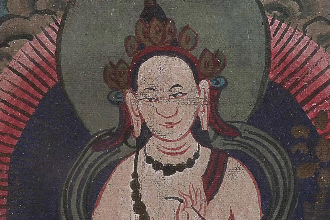 A TIBETAN BUDDHA COLOURED PAINTING - 3