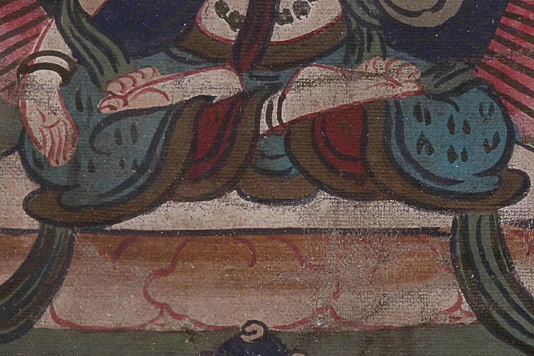 A TIBETAN BUDDHA COLOURED PAINTING - 5