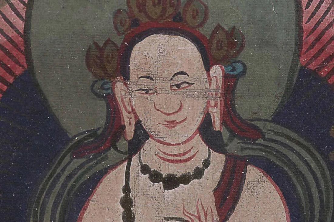 A TIBETAN BUDDHA COLOURED PAINTING - 6