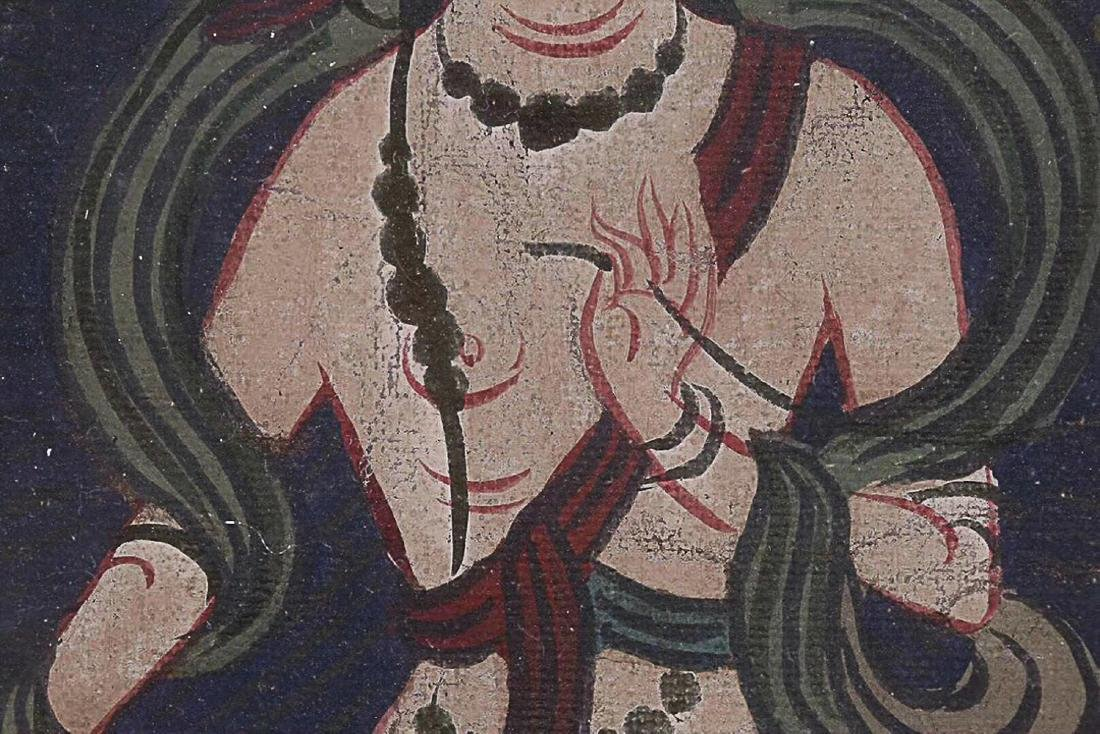 A TIBETAN BUDDHA COLOURED PAINTING - 7