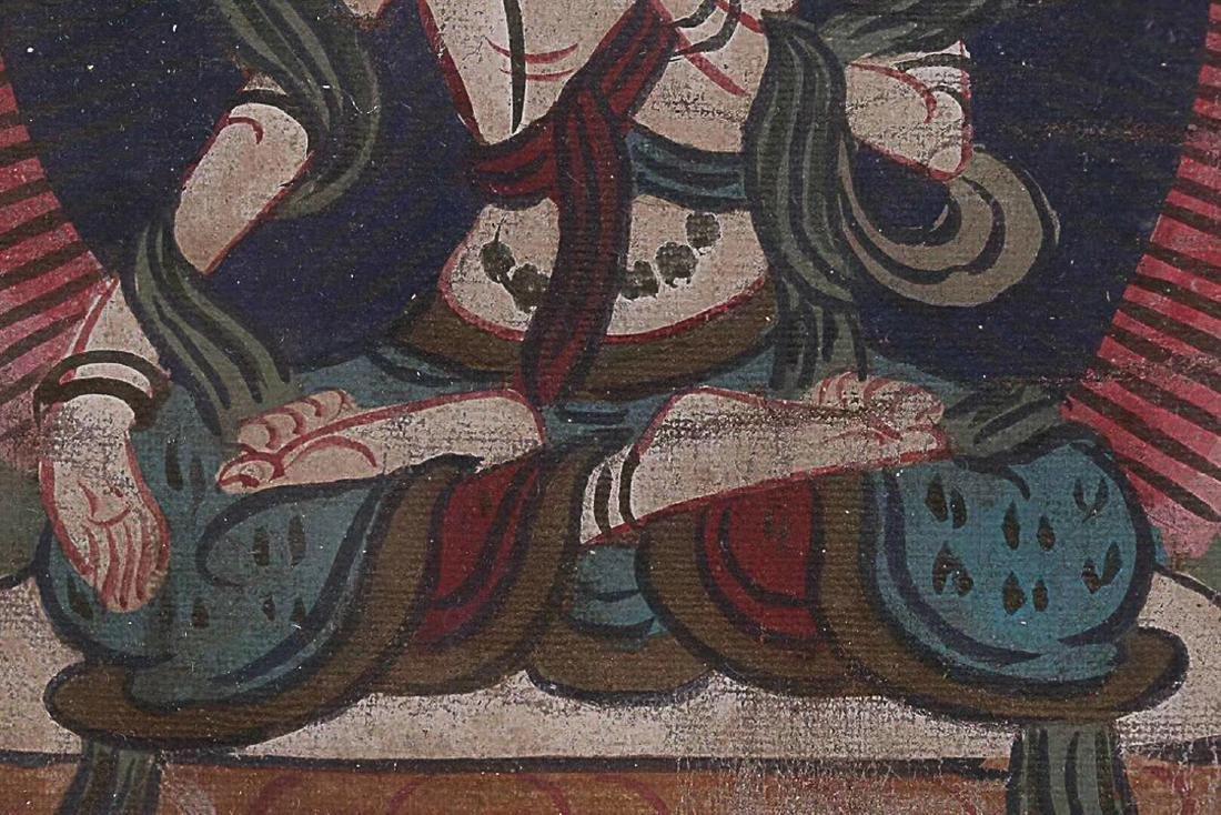 A TIBETAN BUDDHA COLOURED PAINTING - 8