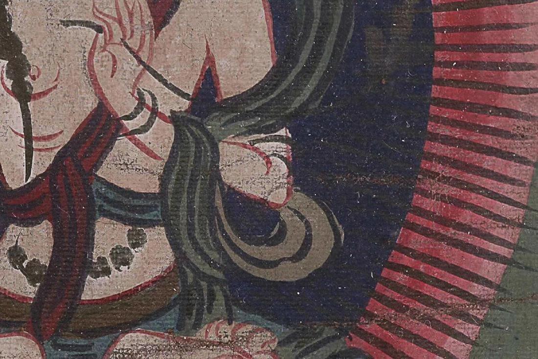 A TIBETAN BUDDHA COLOURED PAINTING - 9