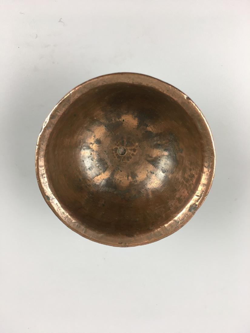 AN OLD TIBETAN BROZNE BUTTER LAMP - 2