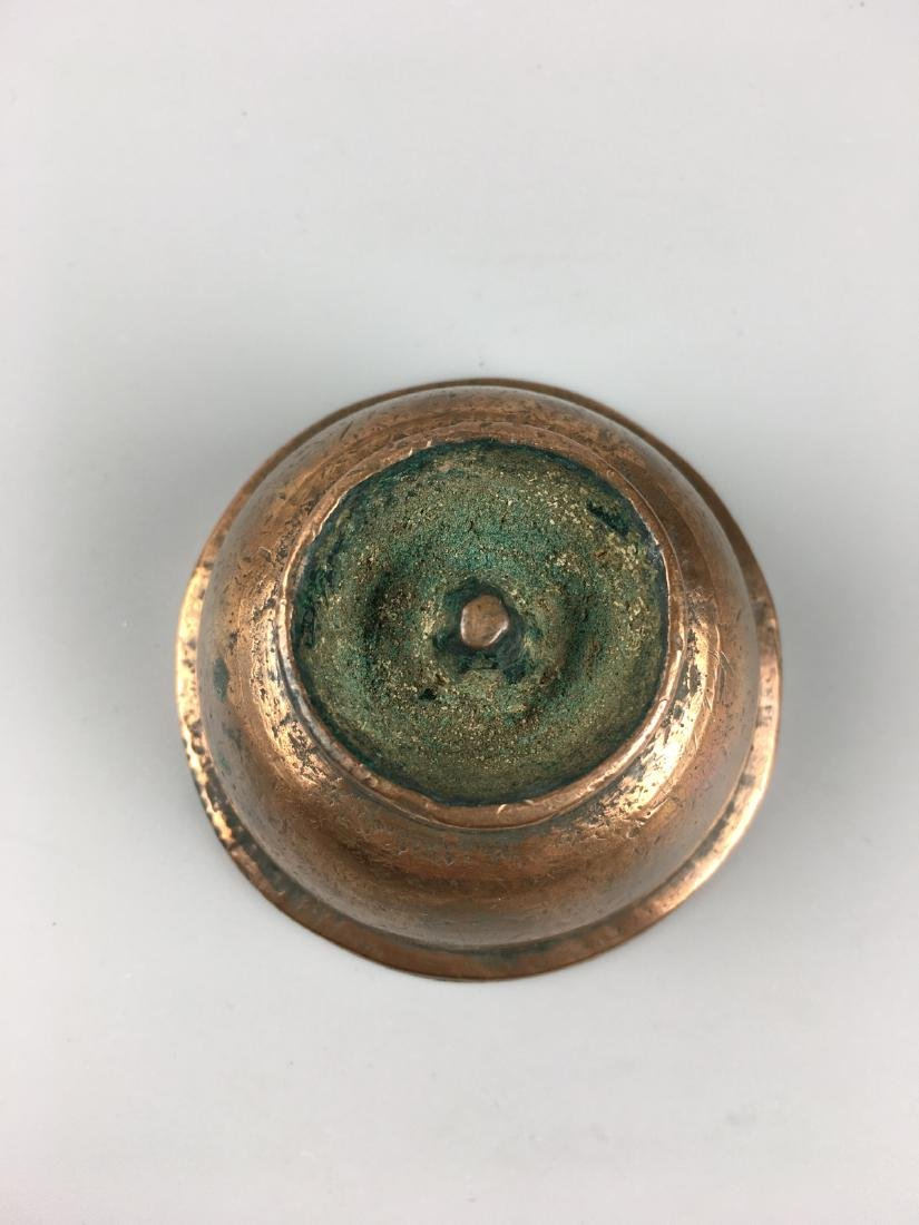 AN OLD TIBETAN BROZNE BUTTER LAMP - 3