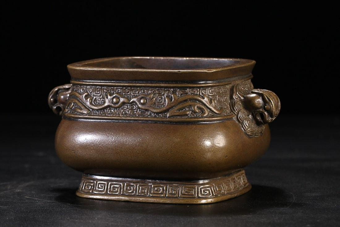 17-19TH CENTURY, A FLORAL PATTERN DOUBLE-EAR BRONZE - 3