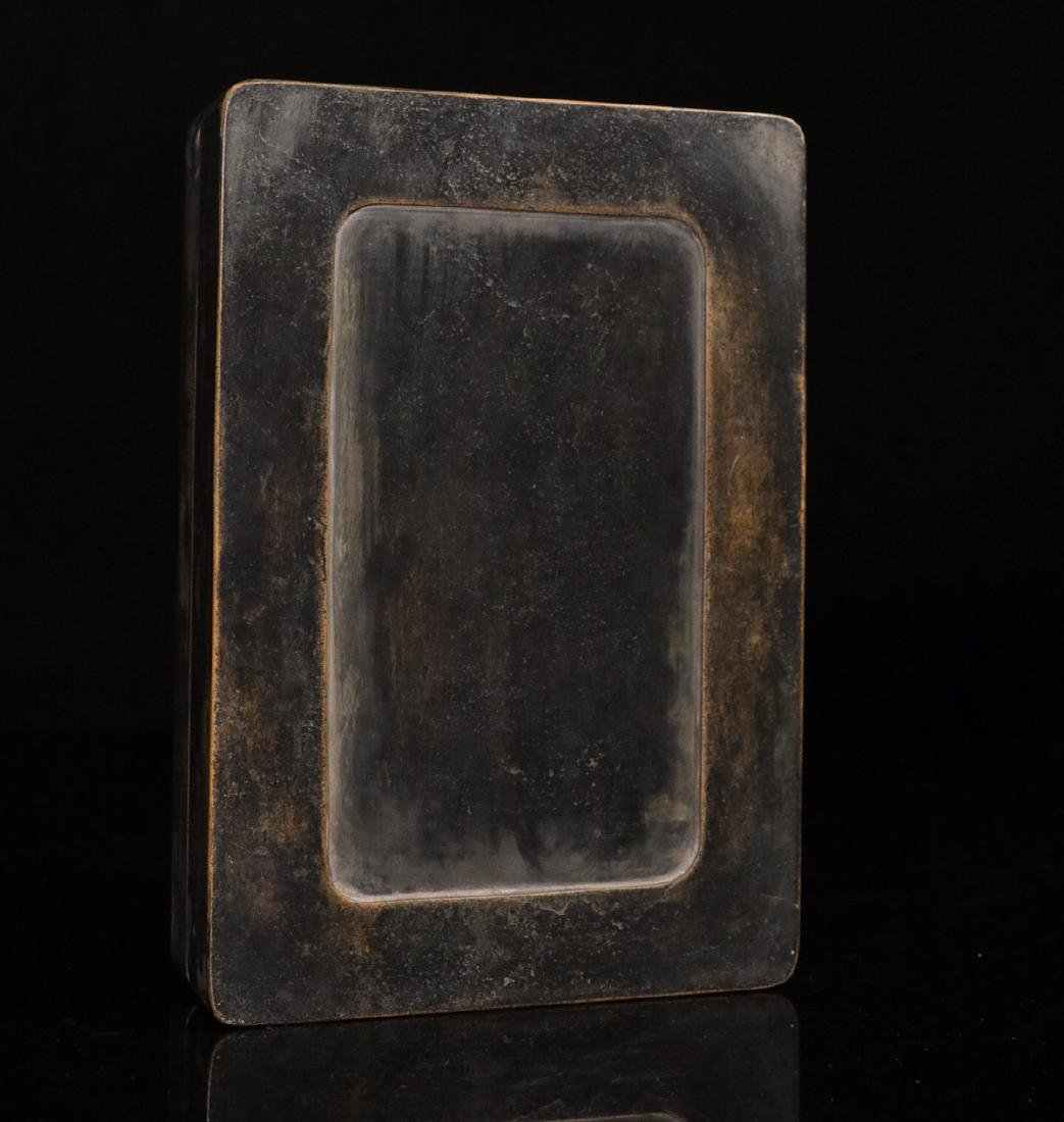 A STONE INK SLAB CARVED POETRY PATTERN - 9