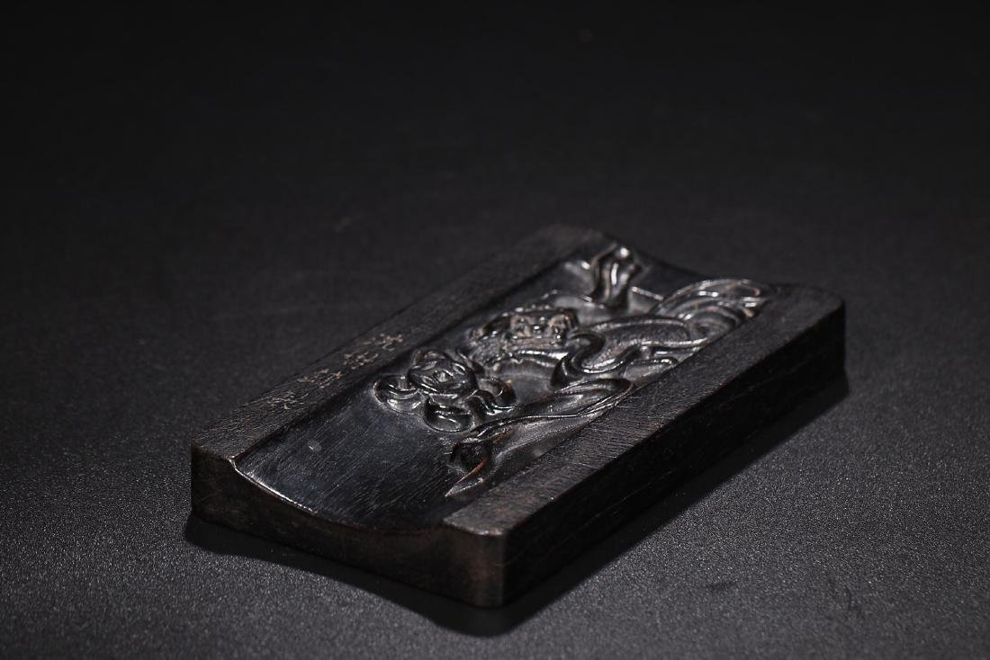 A ZITAN WOOD INK SLAB BY SHEN SHUYONG - 6