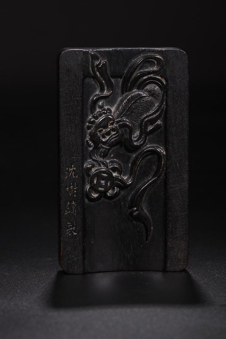 A ZITAN WOOD INK SLAB BY SHEN SHUYONG - 7