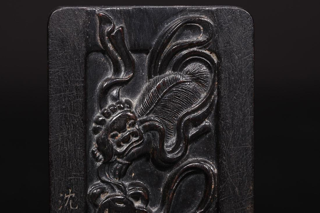 A ZITAN WOOD INK SLAB BY SHEN SHUYONG - 8