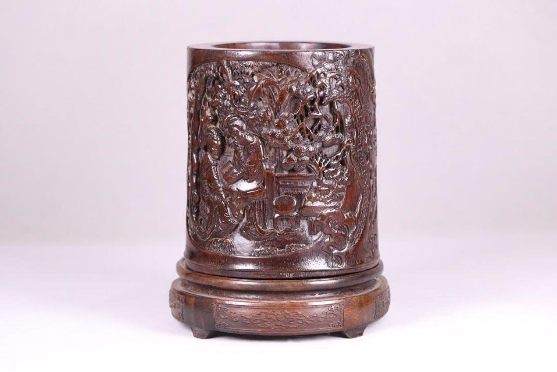 A CHENXIANG WOOD BRUSH POT OF STORY CARVING