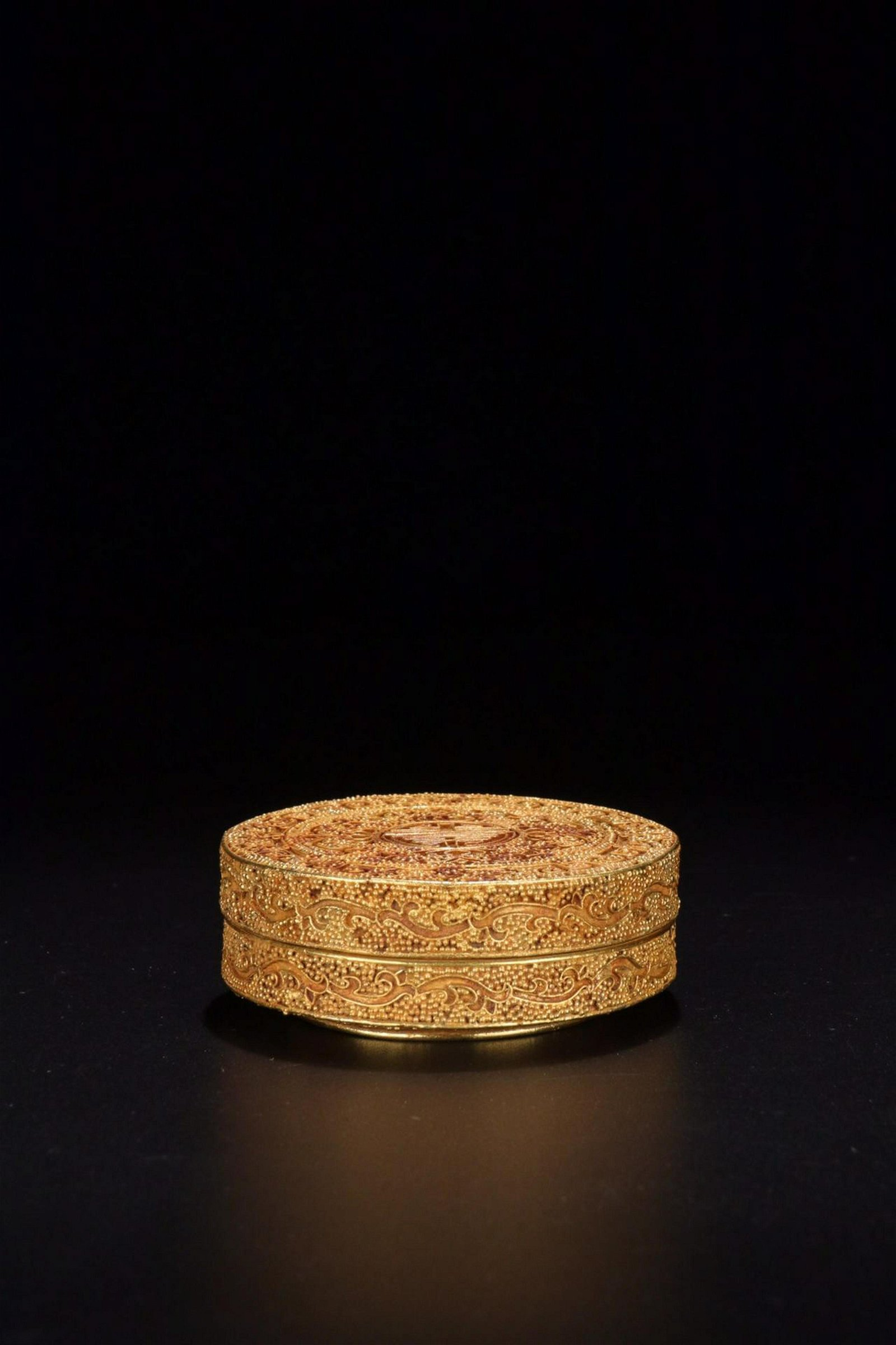 A SILVER GILT BRONZE CLOISONNE DERECTED PEAL BOX