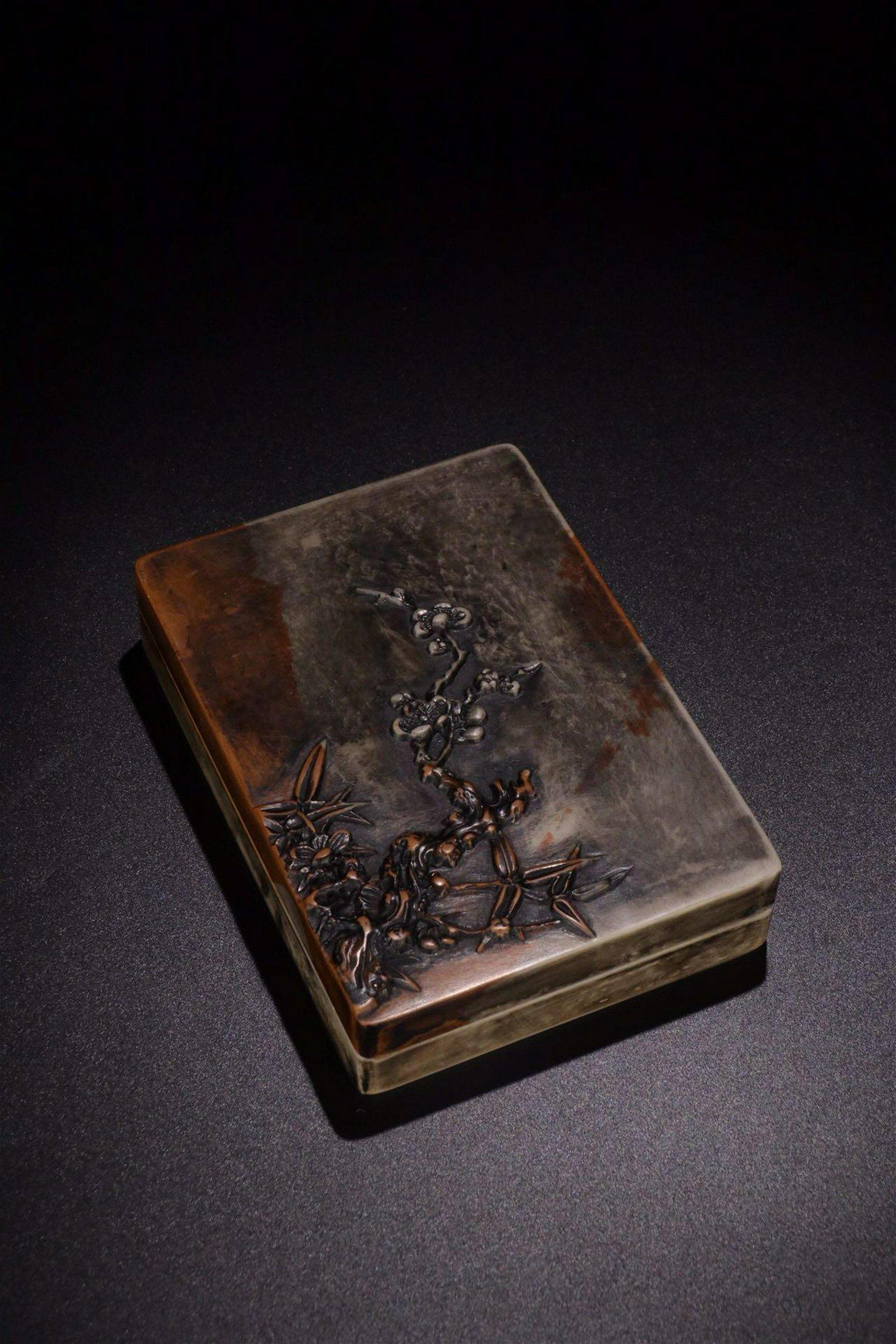 A SONGHUA STONE PLUM FLOWER PATTERN INK SLAB