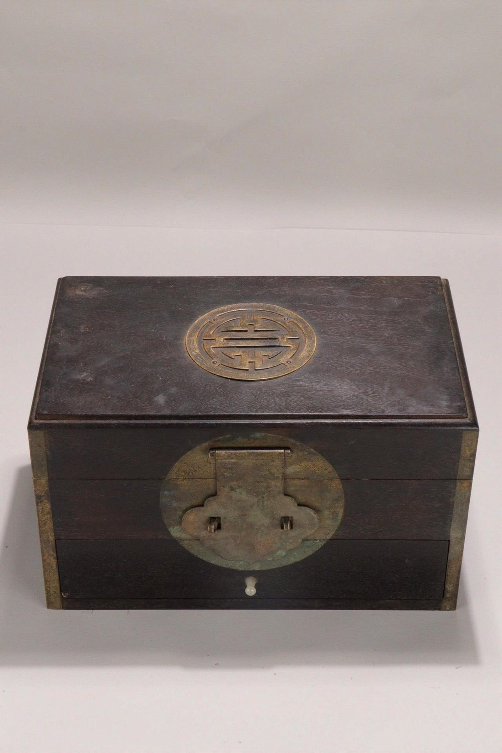 A ZITAN EMBEDED BRONZE JEWELRY BOX