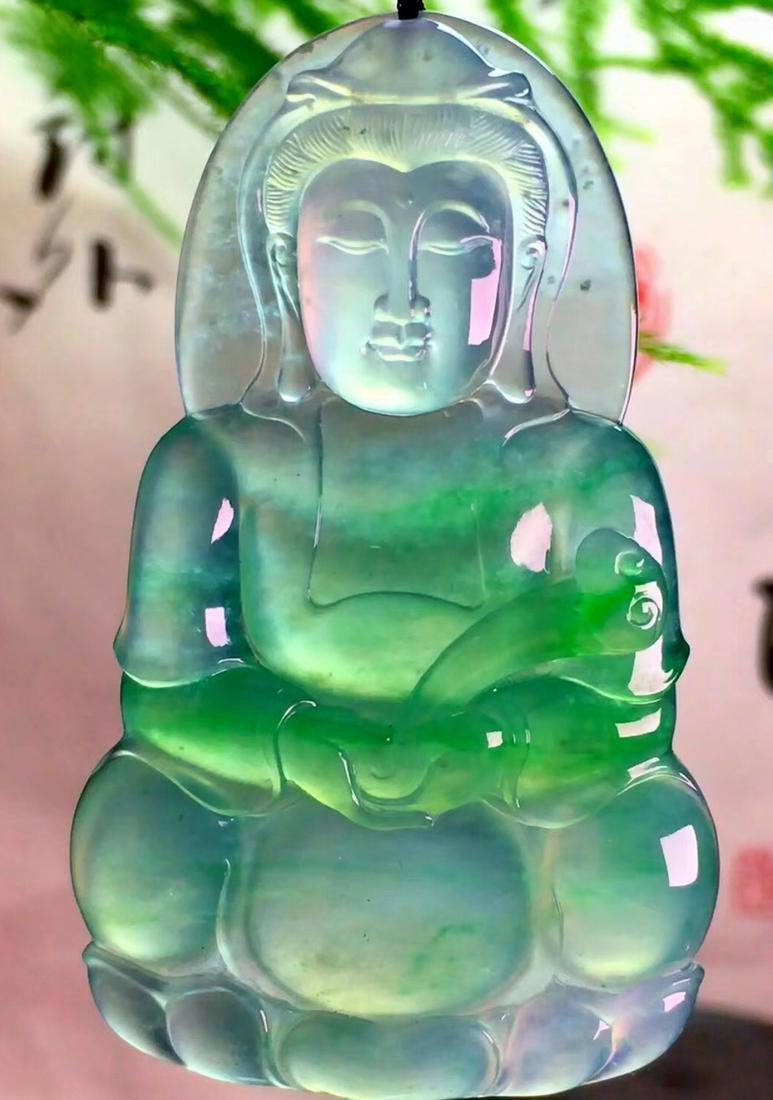 AN ICY JADEITE FLOATING GREEN RU YI BUDDHA SHAPED
