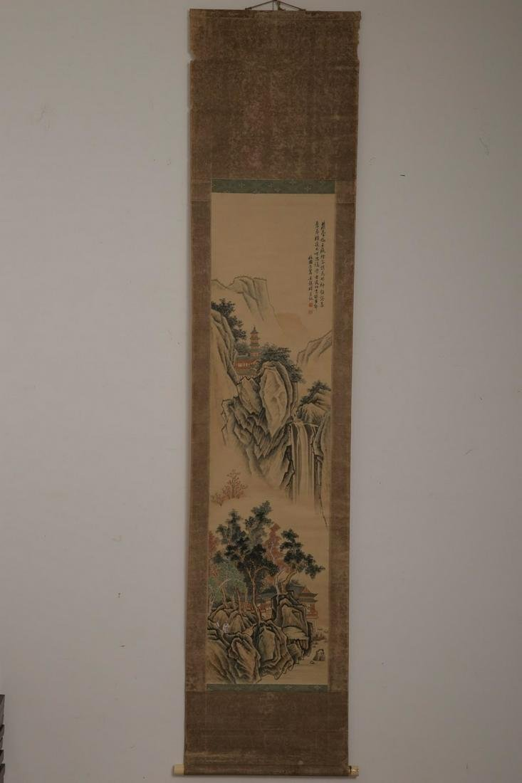 A MOUNTIAN LANDSCAPE INK SCROLL FROM WUGUXIANG