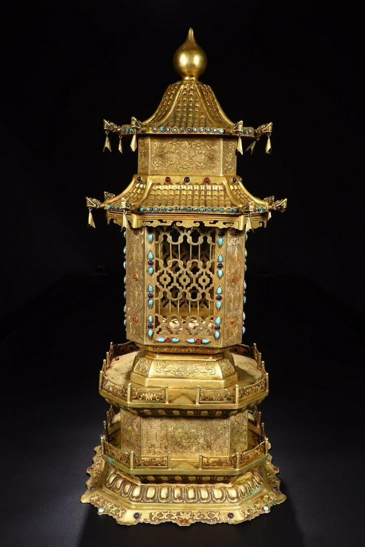 A GILT BRONZE INCENSE HOLDER WITH STORY SHAPED