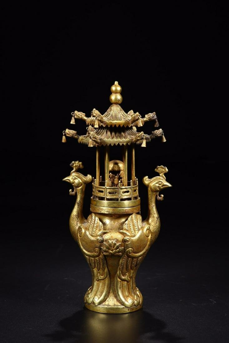 A GILT BRONZE INCENSE HOLDER WITH PHOENIX SHAPED