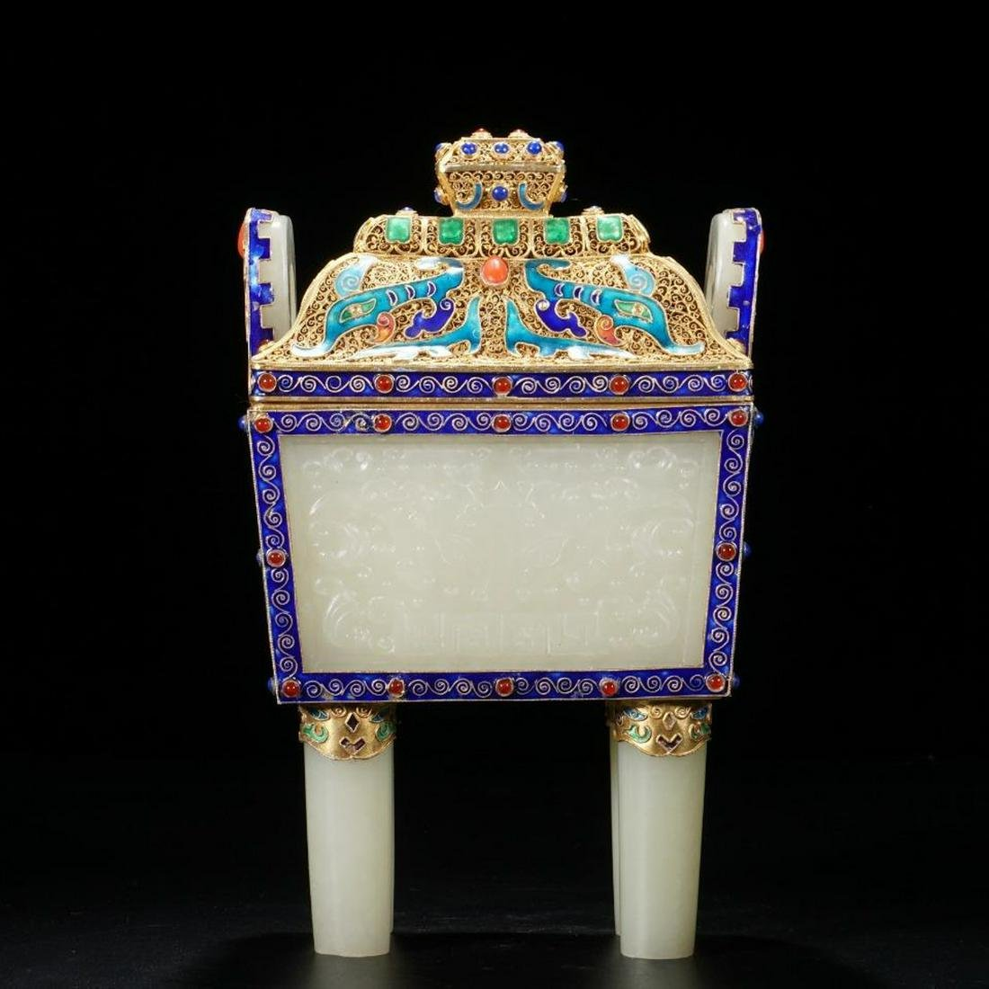 A HETIAN JADE ORNAMENT EMBEDED CLOISONNE