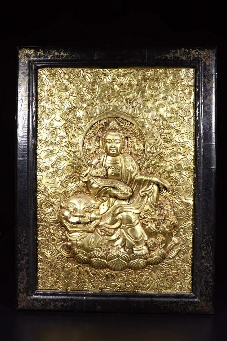 A RED WOOD EMBEDED GILT BRONZE SCREEN WITH BUDDHA