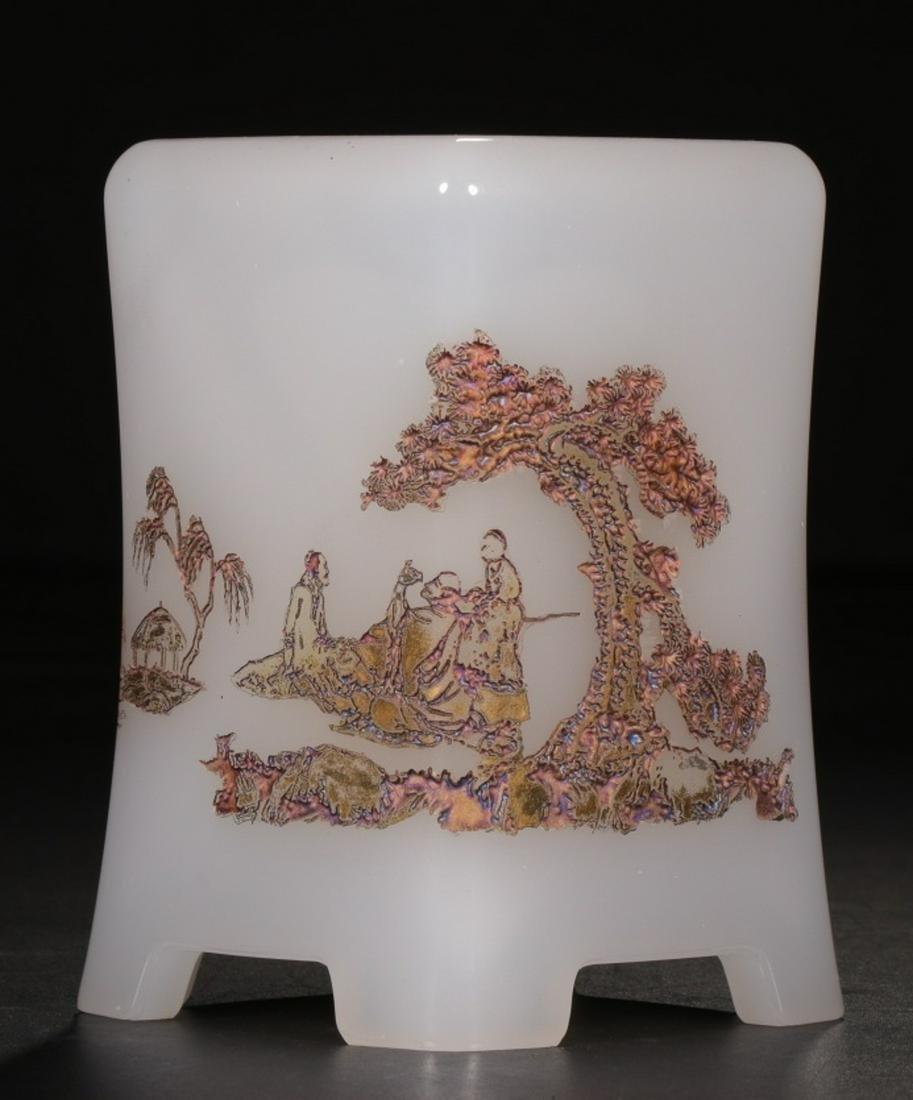 A 'QIANLONG'MARK GLASS CHARACTER STORY PATTERN BRUSH
