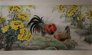 A COCK AND FLOWERS PAINTING OF CUI YAN PING