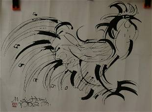 A SKETCH COCK PAINTING OF HAN MEILIN
