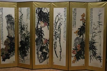 A PAN TIANSHOU'S SIX SCREENS OF FLOWERS AND FRUITS