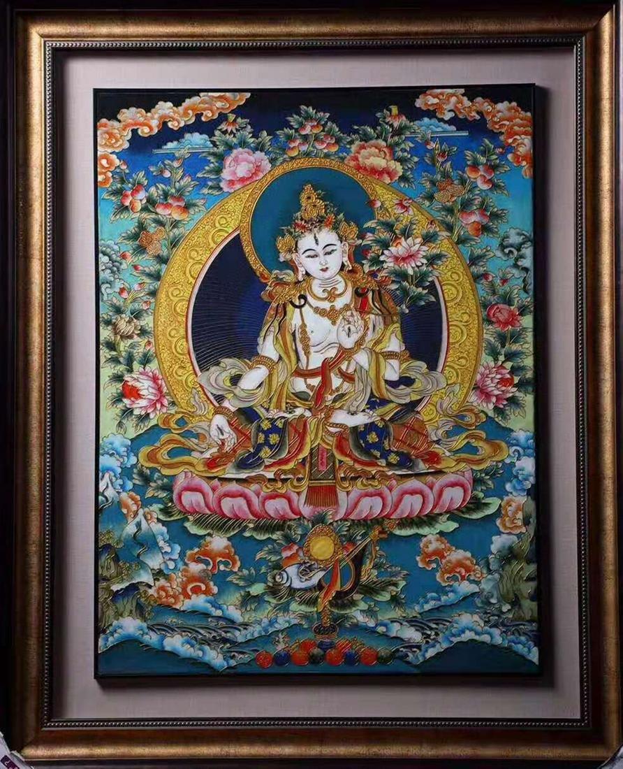 A CLOISONNE BUDDHA PATTERN THANGKA
