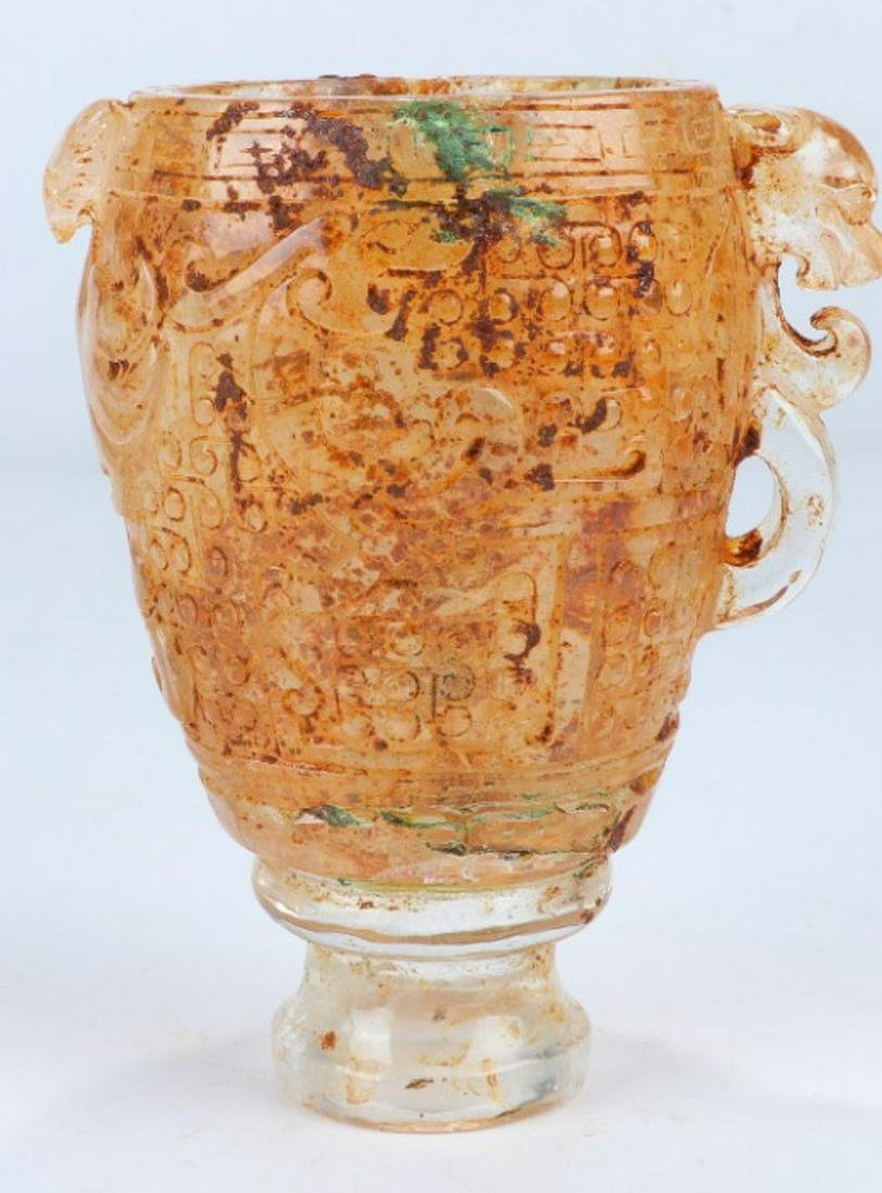 A CRYSTAL CARVED CUP