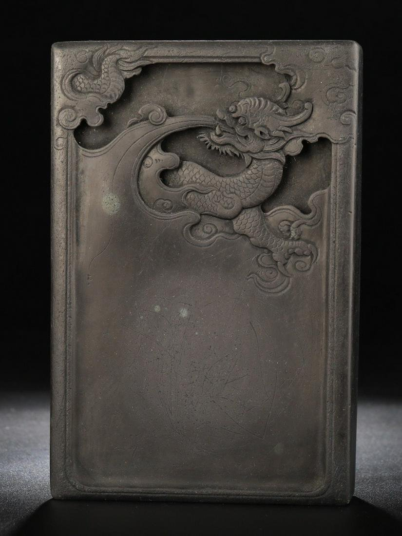 AN INK SLAB CARVED WITH DRAGON PATTERN