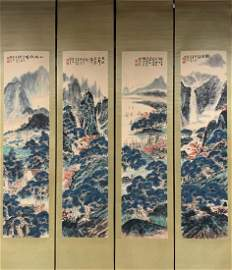 SET OF GUAN SHANYUE LANDSCAPE PATTERN PAINTINGS