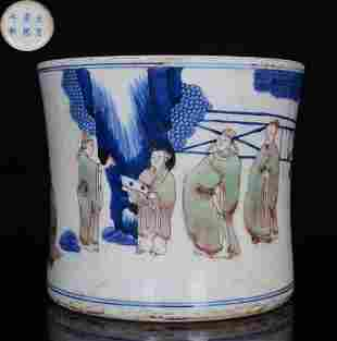 KANGXI MARK BLUE WHITE UNDERGLAZE RED BRUSH POT