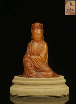 YUXUAN MARK TIANHUANG STONE CARVED GUANYIN BUDDHA