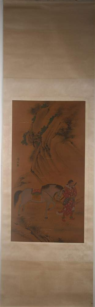 CHENMEI FIGURE HORSE PAINTING HANGING SCROLL