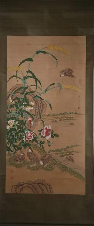 JIANG TINGXI FLOWER BIRD PAINTING HANGING SCROLL
