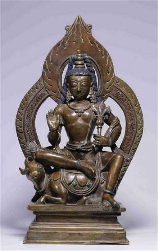 COPPER WITH SILVER GUANYIN BUDDHA STATUE