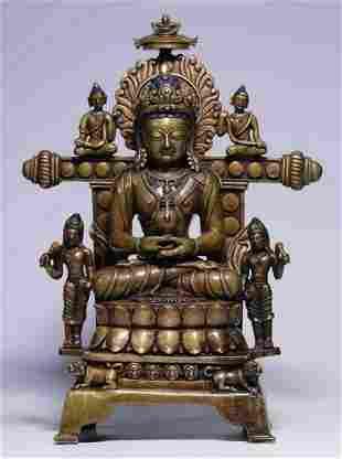 COPPER WITH SILVER AMITABHA BUDDHA STATUE
