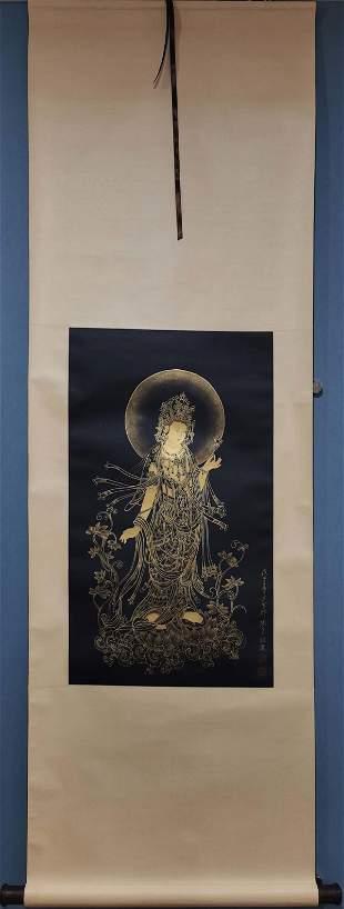 ZHANG DAQIAN OUTLINE IN GOLD BUDDHA PAINTING