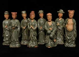 LONGQUAN WARE EIGHT IMMORTALS STATUES