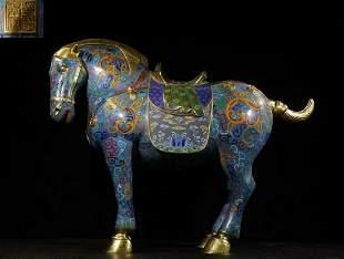 QIANLONG MARK CLOISONNE CAST HORSE