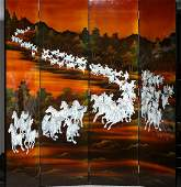 LACQUER & CONCH HORSE PATTERN SCREEN
