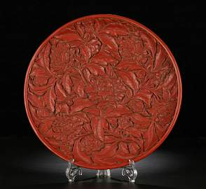 RED LACQUER PLATE CARVED WITH FLOWER