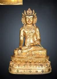 GILT BRONZE CAST SAKYAMUNI BUDDHA