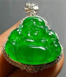 ICY GREEN JADEITE BUDDHA PENDANT