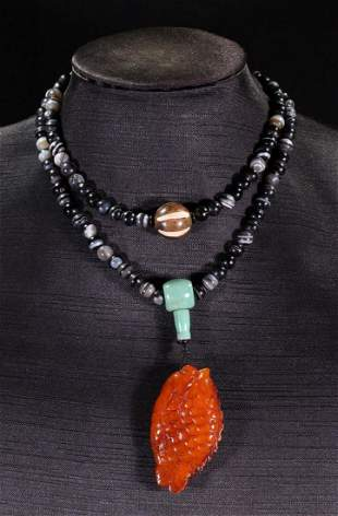 AGATE STRING NECKLACE WITH 108 BEADS