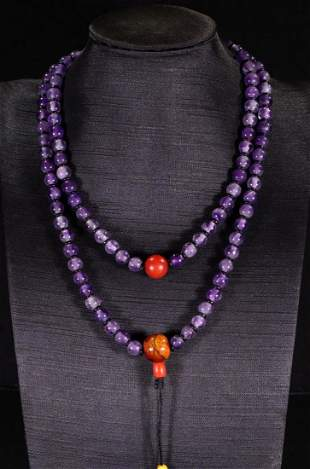 PURPLE CRYSTAL STRING NECKLACE