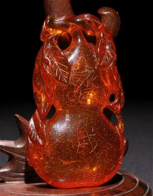 AMBER PENDANT SHAPED WITH GOURD