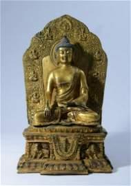 GILT BRONZE SAKAYAMUNI BUDDHA STATUE