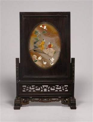 AGATE WITH GEM FIGURE STORY SCREEN