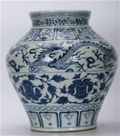 BLUE&WHITE GLAZE CARVED JAR